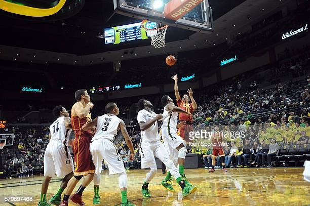 Southern California guard Jordan McLaughlin shoots during the Oregon Ducks game versus the USC Trojans at Matthew Knight Arena in Eugene OR