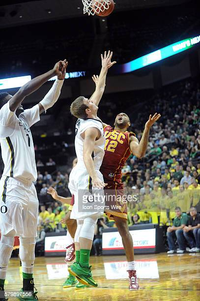USC guard Julian Jacobs shoots during the Oregon Ducks game versus the USC Trojans at Matthew Knight Arena in Eugene OR