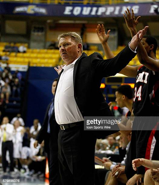 Virginia Military Keydets head coach Duggar Baucom reacts to a no call at McKenzie arena in Chattanooga Tennessee