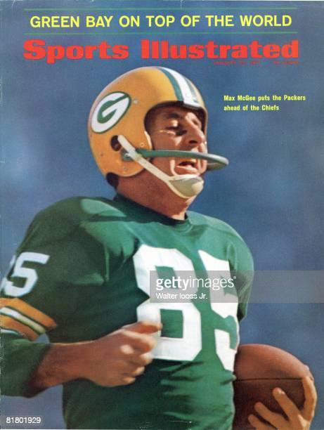 January 23 1967 Sports Illustrated via Getty Images Cover Football Super Bowl I Closeup of Green Bay Packers Max McGee in action vs Kansas City...