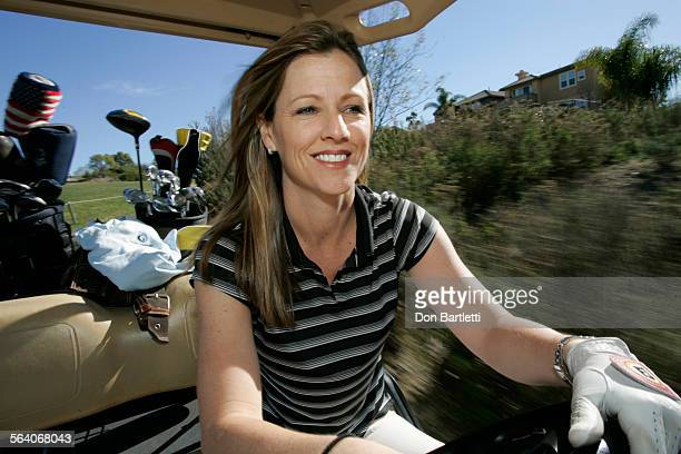 January 23 2007 Encinitas CA Golf Channel host Kelly Tilghman zips along a cart path during a round of golf at Encinitas Ranch Golf Course