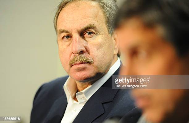 Wizards General Manager Ernie Grunfeld looks on during a press conference introducing Randy Wittman as the interim head coach on January 24 2012 in...