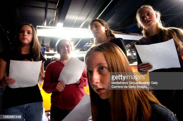 January 25 2006 / Boulder/ Savannah Lejeune front Molly Clarke Lena Antman Faith Pramuk and Lisa Campbell are part of a teen troop rehearsing for...