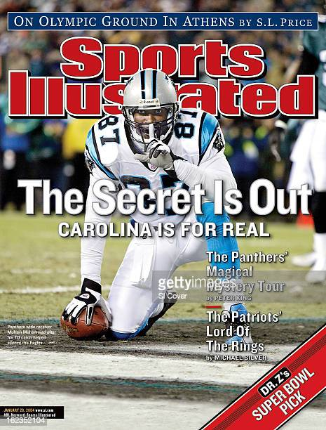 January 26 2004 Sports Illustrated Cover NFC Championship Carolina Panthers Muhsin Muhammad victorious gesturing silence with his finger after...