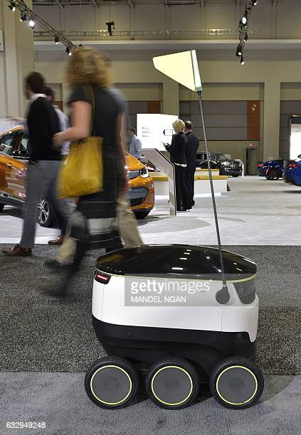 A January 26 2017 photo shows the Starship Technologies delivery robot at the Washington Auto Show in Washington DC The robots of the future will be...
