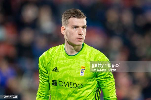 Goalkeeper Andriy Lunin of Oviedo during the Girona V Real Oviedo La Liga second division regular season match at Municipal de Montilivi on January...