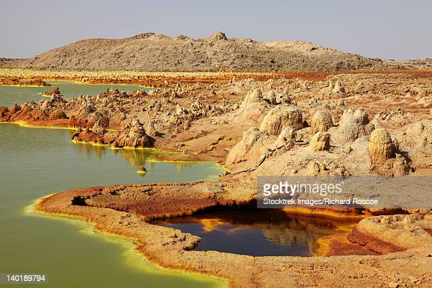 january 27, 2011 - dallol geothermal area, potassium salt deposits formed by brine hot springs, danakil depression, ethiopia. - danakil depression stock pictures, royalty-free photos & images
