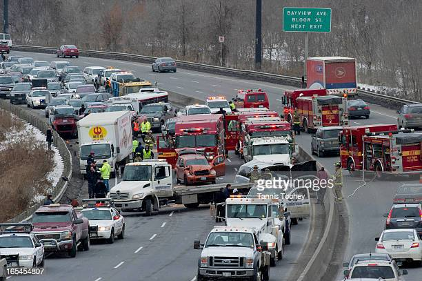January 27 2011A motor vehicle crash involving 10 vehicles including two trucks has shut down all lanes of the southbound Don Valley Parkway south of...