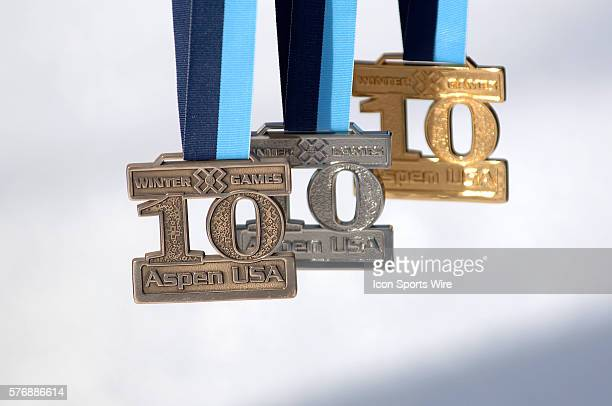 Gold silver and bronze medals during Winter X Games X at Buttermilk Mountain at Aspen/Snowmass in Aspen CO