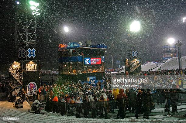 Spectators braved the snow during Women's Superpipe at Winter X Games X at Buttermilk Mountain at Aspen/Snowmass in Aspen CO
