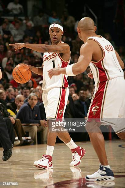 Daniel Gibson of the Cleveland Cavaliers gestures during the game against the Golden State Warriors on January 30 2007 at The Quicken Loans Arena in...