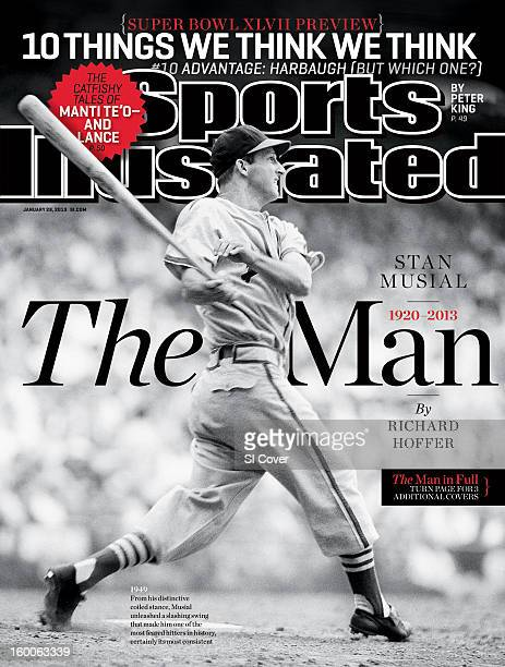 January 28 2013 Sports Illustrated Cover St Louis Cardinals Stan Musial in action at bat vs vs New York Giants at Sportsman's Park St Louis MO CREDIT...