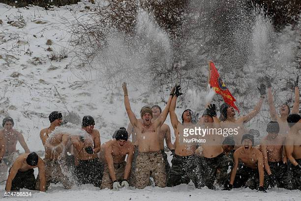 January 28 2016 South Korea Pyeongchang South Korean Marine and US Marine 3rd Division Expeditionary Force take part in an winter exercise at...