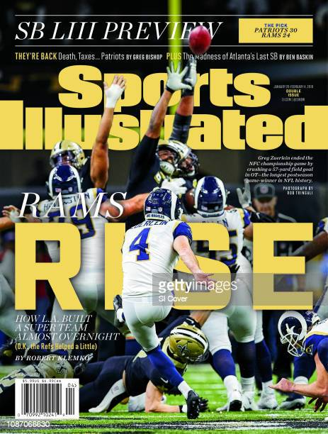 January 28 2019 February 4 2019 Sports Illustrated Cover NFC Playoffs Rear view of Los Angeles Rams Greg Zuerlein in action kicking 57yard...