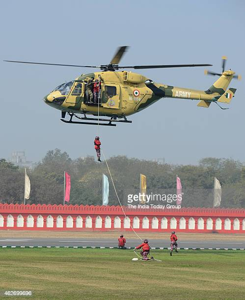 NCC cadets showing their skills at National Cadet Corps Rally at Parade Ground in New Delhi