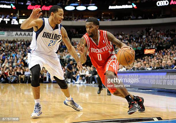 Houston Rockets point guard Aaron Brooks during an NBA game between the Houston Rockets and the Dallas Mavericks at the American Airlines Center in...