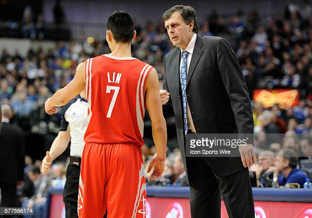 Houston Rockets point guard Jeremy Lin speaks with Houston Rockets head coach Kevin McHale during an NBA game between the Houston Rockets and the...