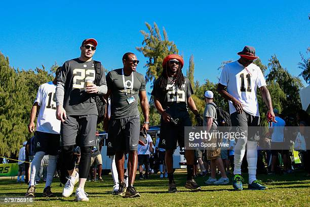 Team Irvin Pro Bowlers Richard Sherman Harrison Smith Julio Jones and assistant coach Darren Woodson arrive for Pro Bowl practice at Turtle Bay...