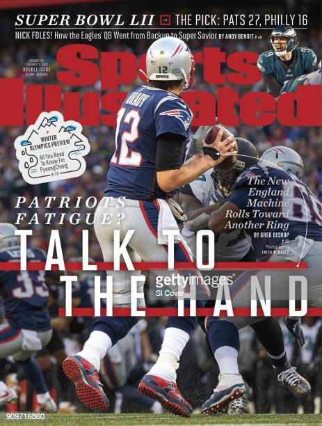 January 29 2018 February 5 2018 Sports Illustrated Cover AFC Playoffs Rear view of New England Patriots QB Tom Brady in action vs Jacksonville...
