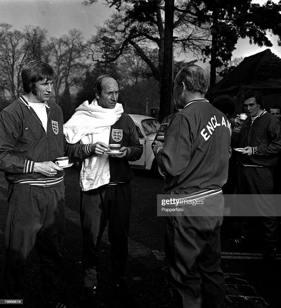 January 2nd, 1973, Sport, Football, England's Colin Bell (left) Bobby Charlton and Manager Alf Ramsey relax after training at Stevenage, Herts, Bell and Charlton are to play for the New Common Market 3 (England, Ireland and Denmark) against the original C : News Photo