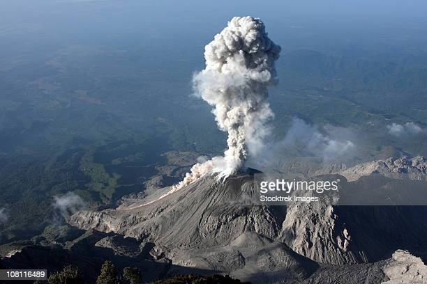 january 3, 2009 - santiaguito ash eruption, guatemala. - stratovolcano stock photos and pictures