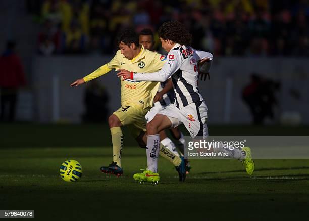 Club Amrica forward Oribe Peralta and Monterrey defender Stefan Medina during the International Friendly soccer match between Monterrey and Club...