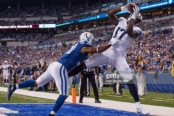 Tennessee Titans wide receiver Dorial GreenBeckham catches a touchdown pass over Indianapolis Colts cornerback Jalil Brown during the NFL game...