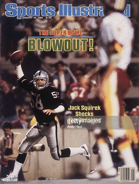 January 30 1984 Sports Illustrated Cover Football Super Bowl XVIII Los Angeles Raiders Jack Squirek victorious after scoring touchdown from...