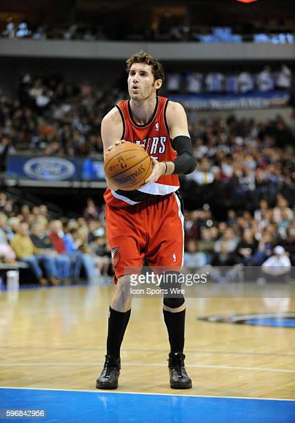 Portland Trailblazers guard Rudy Fernandez shoots free throws during an NBA game between the Portland Trailblazers and the Dallas Mavericks at the...
