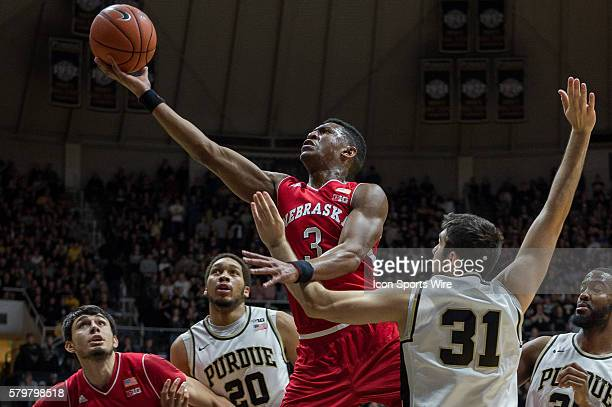Nebraska Cornhuskers guard Andrew White III scores in the lane during the NCAA basketball game between the Purdue Boilermakers and Nebraska...