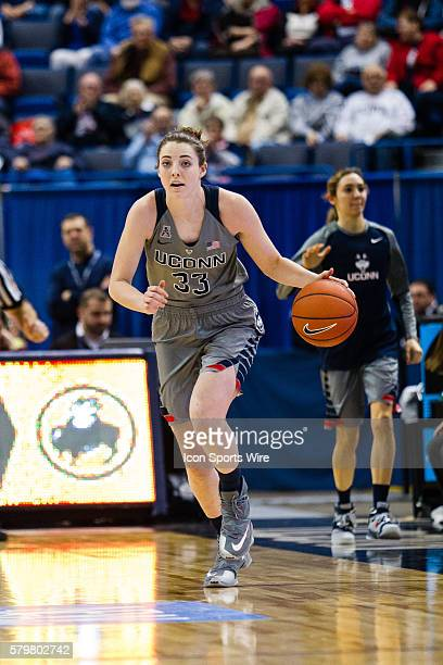 UConn Huskies Guard Katie Lou Samuelson brings the ball down court during an American Athletic Conference NCAA D1 women's basketball matchup between...