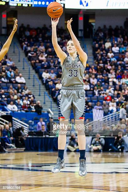 UConn Huskies Guard Katie Lou Samuelson fires off a shot from 3 point range during an American Athletic Conference NCAA D1 women's basketball matchup...