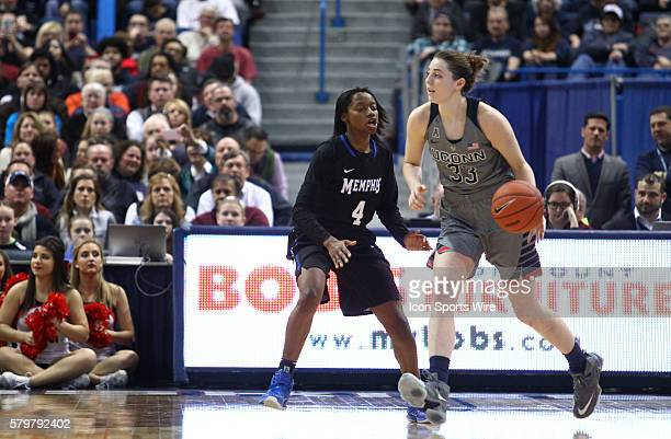 UConn Huskies Guard Katie Lou Samuelson works around Memphis Guard Ariel Hearn during an American Athletic Conference NCAA D1 women's basketball...