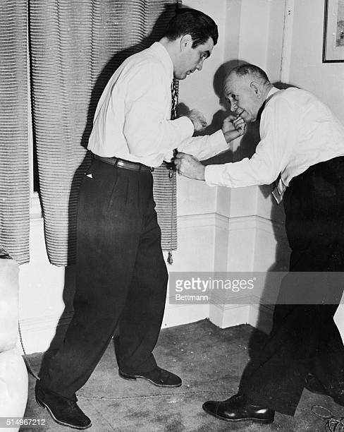 January 31 1950London England Joey Maxim who kayoed Britain's Freddie Mills to win the light heavyweight boxing title for America demonstrates the...