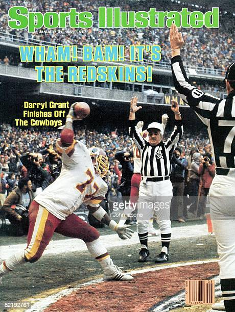 January 31 1983 Sports Illustrated Cover Football NFC Playoffs Washington Redskins Darryl Grant victorious spiking ball after scoring touchdown from...
