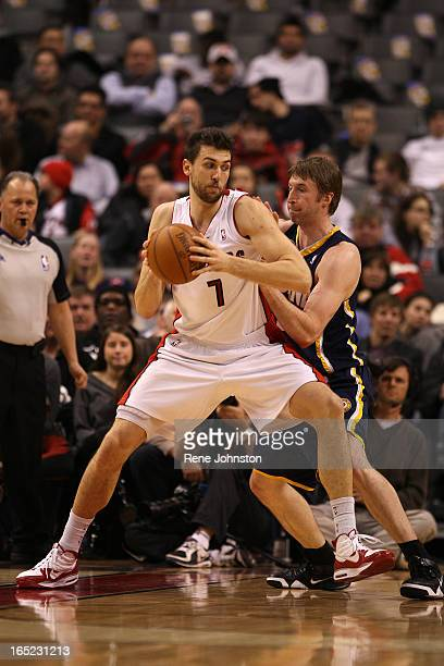 January 31 2010 Toronto Raptors Andrea Bargnani gets in the middle of the defense of Indian Pacers Troy Murphy NBA action at the ACC on Sunday