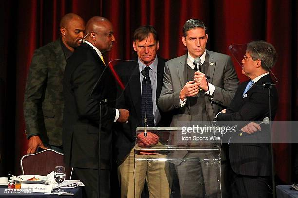 Former NY Giant George Martin Former De La Salle High School Spartans head Caoch Bob Ladouceur actor Jim Caviezel and author Eric Metaxas during the...