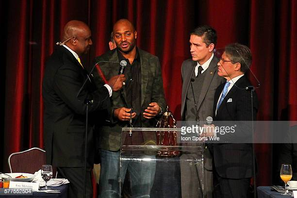 Former NY Giant George Martin former New York Giants wide receiver Amani Toomer actor Jim Caviezel and author Eric Metaxas during the Athletes In...
