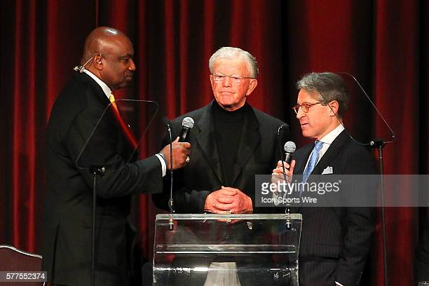 Former NY Giant George Martin former Washington Redskins head coach Joe Gibbs and author Eric Metaxas during the Athletes In Action 2014 Super Bowl...