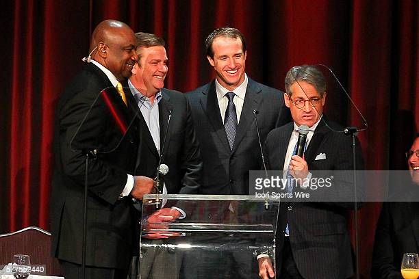 Former NY Giant George Martin New Orleans Saints Quarterback Drew Brees and author Eric Metaxas during the Athletes In Action 2014 Super Bowl...