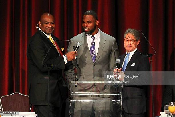 Former NY Giant George Martin New York Giant Justin Tuck and author Eric Metaxas during the Athletes In Action 2014 Super Bowl Breakfast featuring...