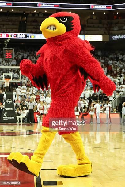 The Louisville Cardinal Mascot during the NCAA mens basketball game between North Carolina Tar Heels and the Louisville Cardinals at the KFC Yum...