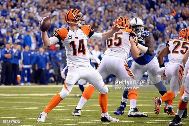 Cincinnati Bengals quarterback Andy Dalton in action during the NFL AFC Wild Card football game between the Indianapolis Colts and Cincinnati Bengals...