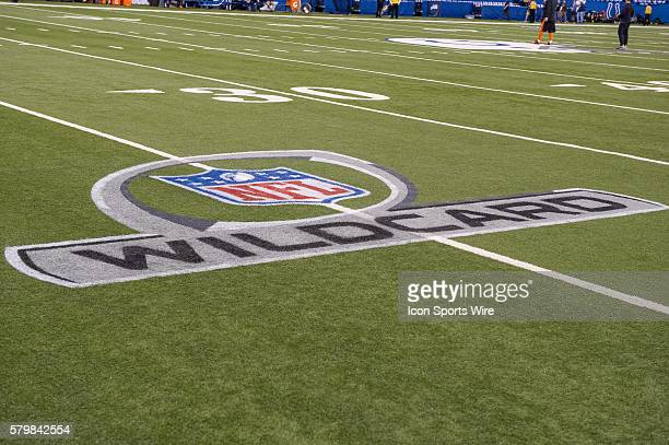 Lucas Oil Stadium with the Wild Card logo painted on the field before a NFL AFC Wild Card football game between the Indianapolis Colts and Cincinnati...