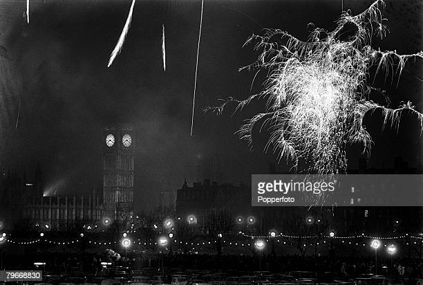 January 4th Fireworks exploding over the River Thames at Westminster, to celebrate Britain joining the Common Market