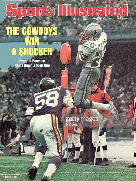 January 5 1976 Sports Illustrated Cover Football NFC Playoffs Dallas Cowboys Preston Pearson in action making catch vs Minnesota Vikings Wally...