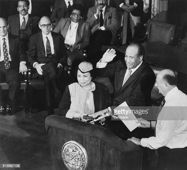 January 5, 1984-New York, New York: Mayor Ed Koch swears in Ben Ward as Police Commissioner.