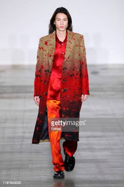 A model walks the runway at the 8ON8 show during London Fashion Week Men's at the BFC Show Space on January 5 2020 London England