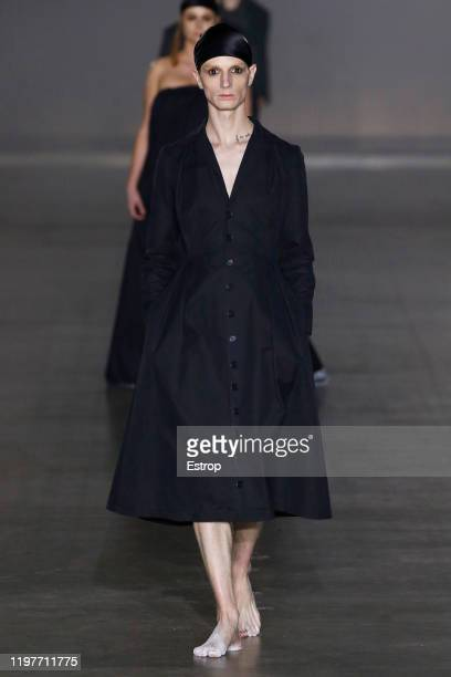 January 5: A model walks the runway at the Art School show during London Fashion Week Men's at the BFC Show Space on January 5, 2020 London, England.