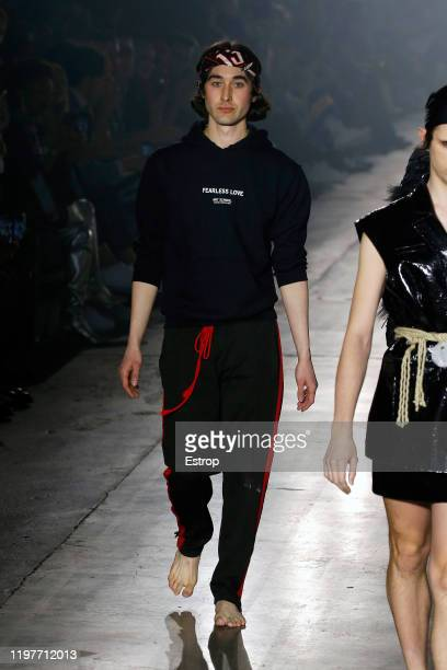 January 5: Designer Tom Barratt walks the runway at the Art School show during London Fashion Week Men's at the BFC Show Space on January 5, 2020...